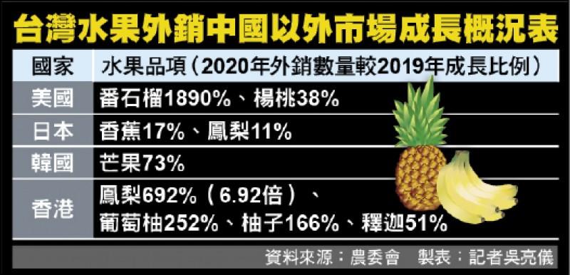 台灣水果外銷中國以外市場成長概況表