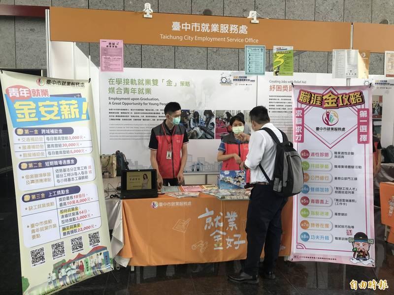 中市勞工局推出即時就業獎勵金及主題性徵才活動,協助青年就業。(記者蔡淑媛攝)