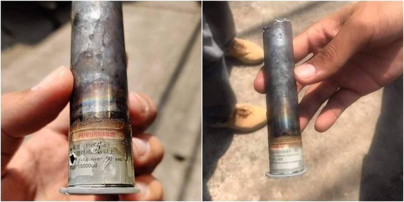 緬甸民眾在推特指出,在仰光三橋區撿到的1枚催淚彈上頭竟然有簡體中文。(圖取自Twitter)