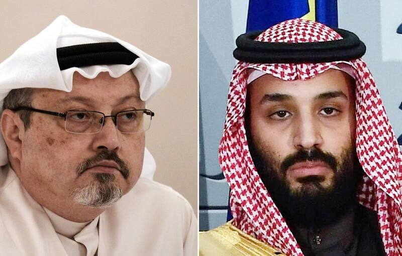 無國界記者組織在德國控告沙國王儲穆罕默德(右)謀殺華郵記者哈紹吉(左)。(法新社)