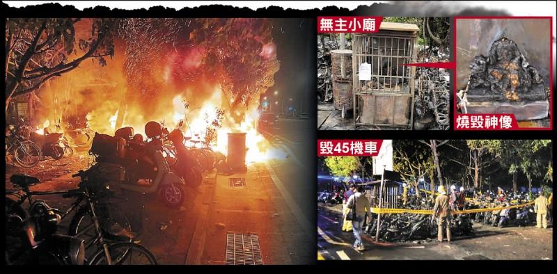 台南客運轉運站旁停車場2日凌晨大火,小廟、神像和附近45輛機車都被燒毀。(記者王俊忠攝、民眾提供)