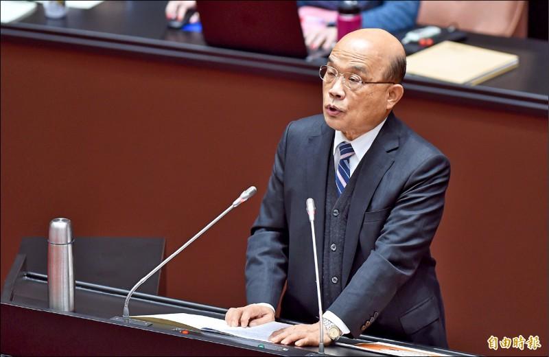 行政院長蘇貞昌昨赴立法院施政報告,,提出「顧好安全、打拚經濟、創造機會」 三大主軸。(記者劉信德攝)