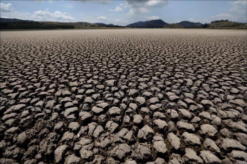 今年2月17日所見的哥倫比亞蘇埃斯卡潟湖,這座潟湖因為多年來雨量稀少,如今已嚴重乾涸。(美聯社)