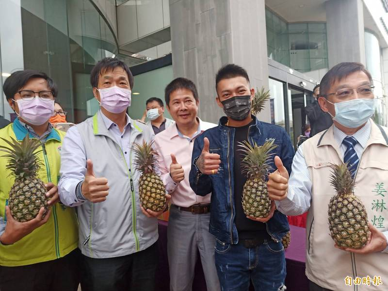 民進黨台南市黨部訂購1600箱鳳梨,今天邀當下超夯的網紅「鳳梨鼠薯」吳泓逸到台南直播賣鳳梨。(記者王姝琇攝)