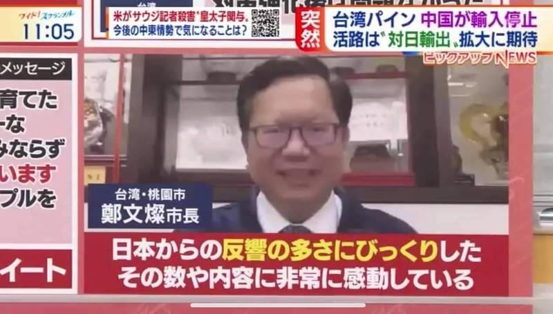 桃園市長鄭文燦接受日本朝日電視台視訊訪問,感謝日本友好挺台灣鳳梨。(市府提供)