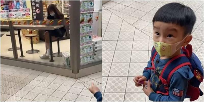 1位媽媽的兒子希望便利商店內的姊姊是自己的媽媽,讓爸爸笑得好開心。(柯小姐提供)