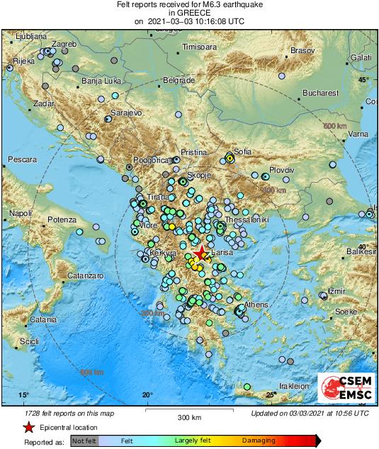 歐洲地中海地震中心(EMSC)表示,希臘今(3)日發生芮氏規模6.3地震。(圖取自EMSC@LastQuake推特