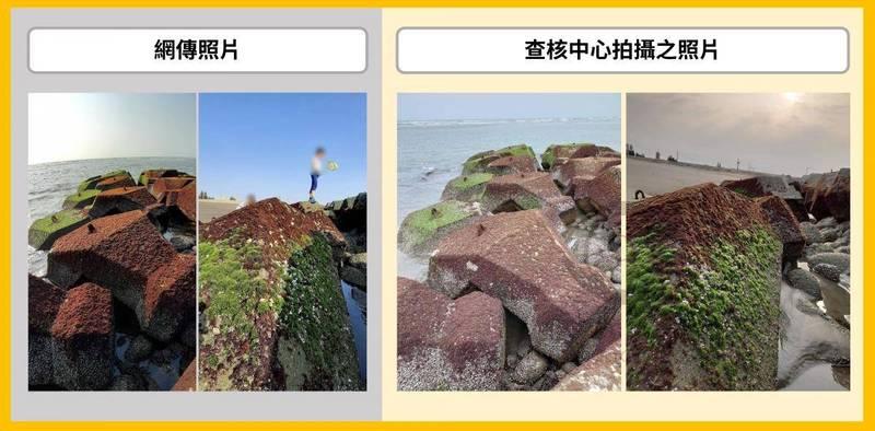 查核中心派遣攝影記者走訪台南當地,拍攝到與傳言相同的藻類照片。(圖擷取自事實查核中心)