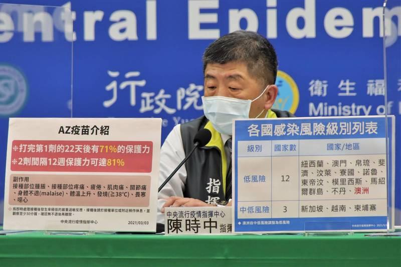 中央流行疫情指揮中心指揮官陳時中說,疫苗不會只優先給桃園,會平均分配給全國。(指揮中心提供)