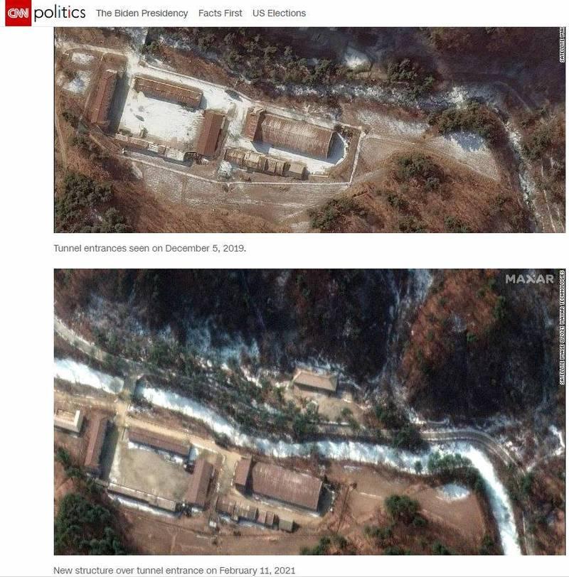 衛星照片顯示北韓興建新建築物,掩蓋2019年被拍到的隧道入口。(圖翻攝自CNN網站)