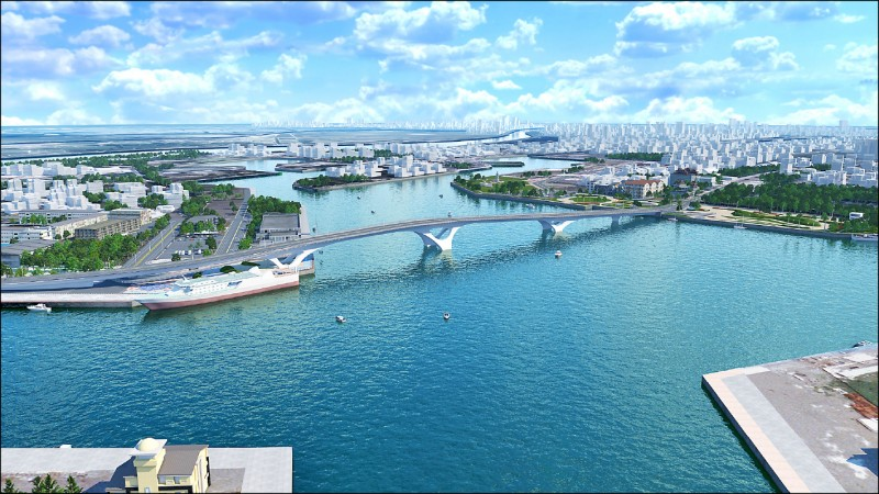 安平漁港跨港大橋造型意象,呼應台灣山稜及候鳥遷徙展翼姿態。圖為模擬示意圖。(南市工務局提供)