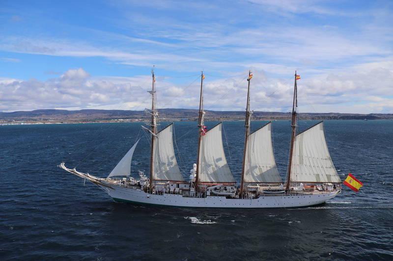 西班牙海軍船艦「胡安·塞巴斯提安·艾爾卡諾」遠道而來,在西太平洋參與軍演。(歐新社檔案照)