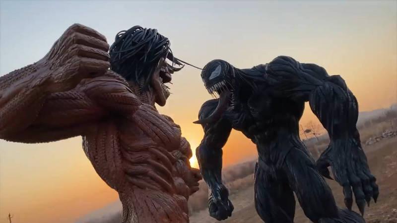 YouTuber用輪胎製作猛毒及進擊的巨人雕像,看起來超壯觀。(YouTube頻道輪胎俠曹勝歌 授權)