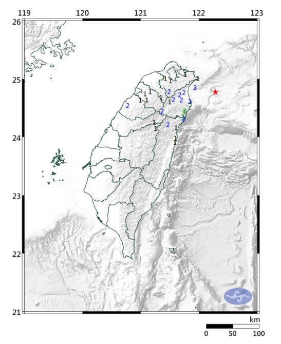 台灣東部外海晚間10點24分發生規模4.7的有感地震。(圖取自中央氣象局)