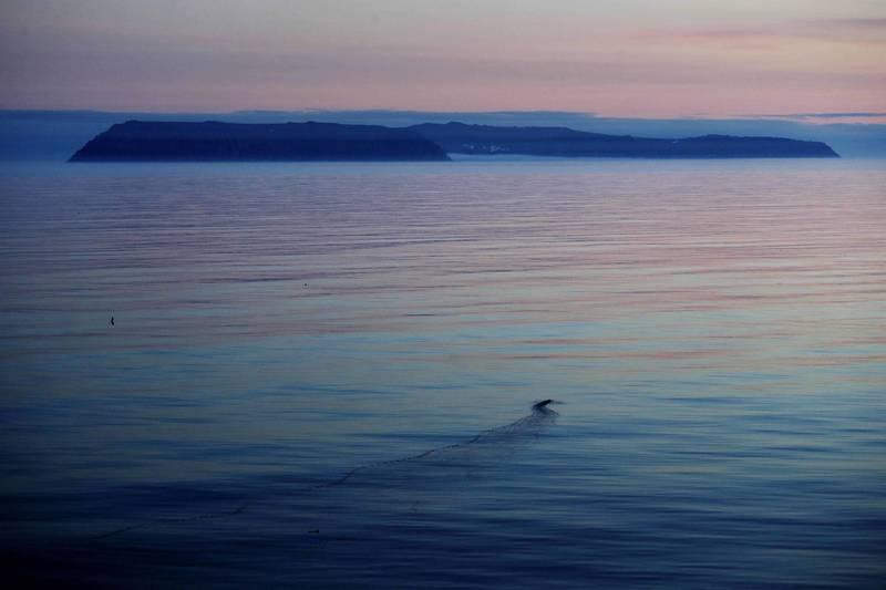 美國的小迪奧米德島(圖左),和俄羅斯大迪奧米德島(圖右)兩島相距僅4.8公里,但卻有著21小時的巨大時差。(美聯社)