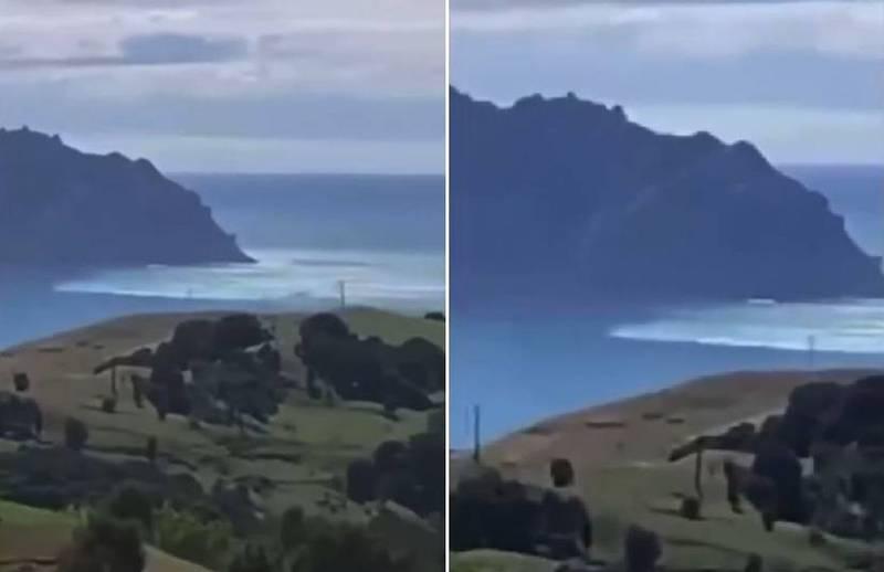 當地民眾稍早拍下海嘯衝入北島托科馬魯海灣(Tokomaru Bay)的影片,畫面相當震撼。(兩圖擷取自FB影片)