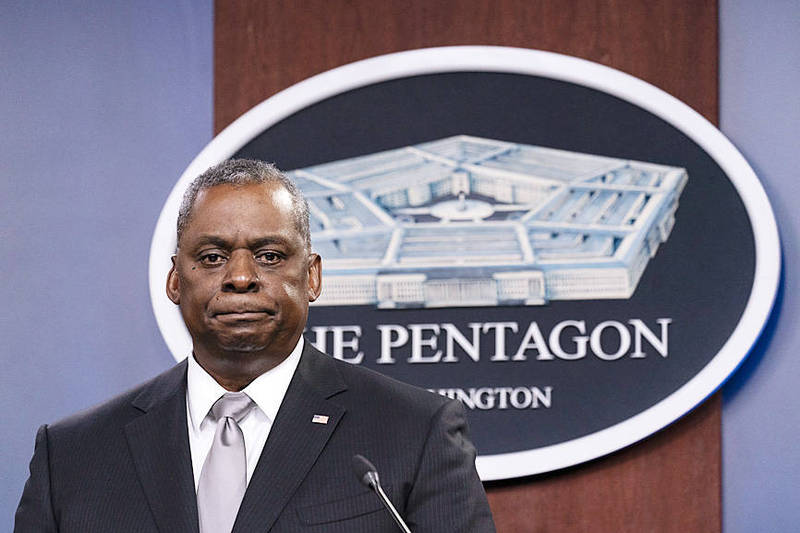US Secretary of Defense Lloyd Austin listens to a question at a media briefing at the Pentagon in Virginia on Feb. 19. Photo: AP