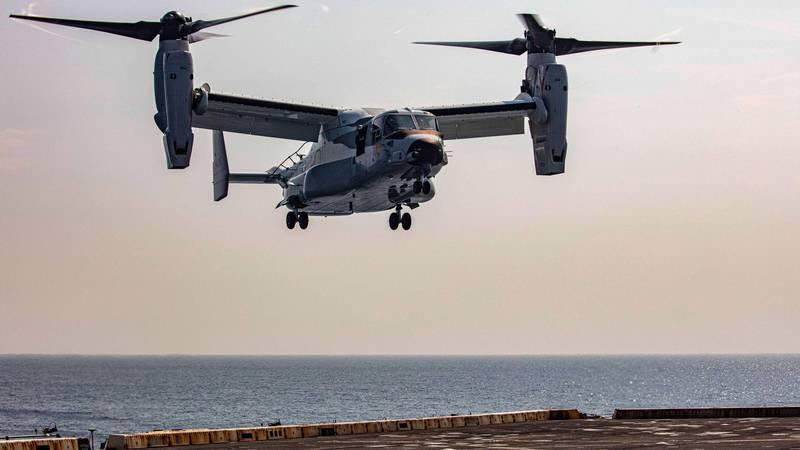 美國貝爾-波音聯合辦公室近日獲得美國海軍航空系統司令新台幣約86.72億元合約,額外增訂4架海軍版CMV-22B「魚鷹」傾斜旋翼機,圖為CMV-22B旋翼機。(擷取自海軍航空系統司令部官網)