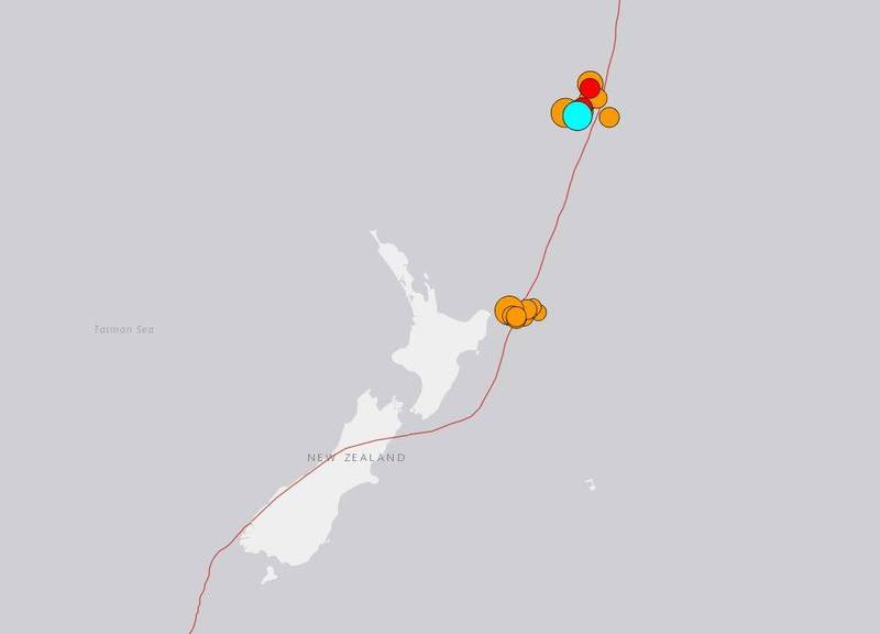 紐西蘭克馬得群島(Kermadec Islands)外海在當地時間5日上午連續發生3起規模6以上的強震。(圖擷取自USGS)