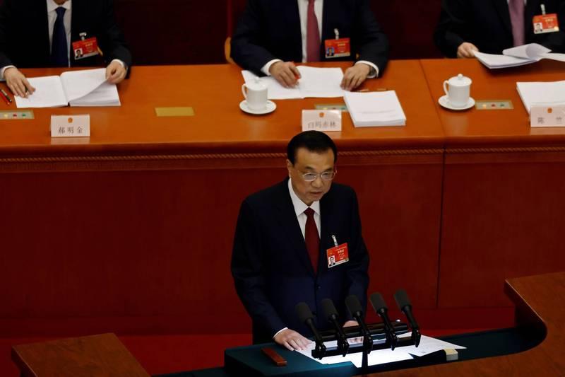 中國人大會議今日登場,中國國務院總理李克強發表政府工作報告,提及涉台政策時重申「一中原則」以及「九二共識」,並強調要「推進兩岸關係和平發展和祖國統一」。(路透)