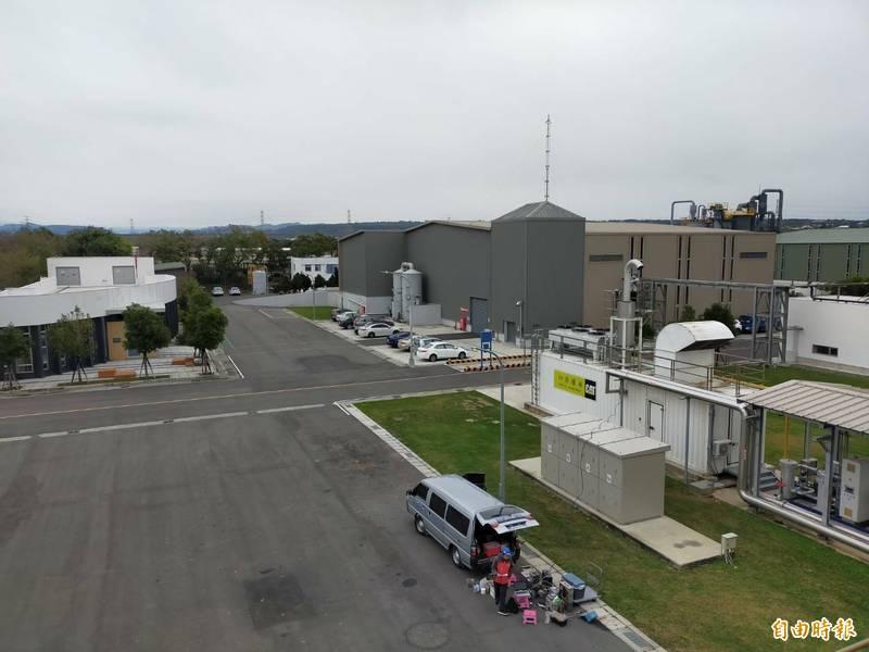 外埔綠能生態園區是全台首座生質能電廠。(記者張軒哲攝)