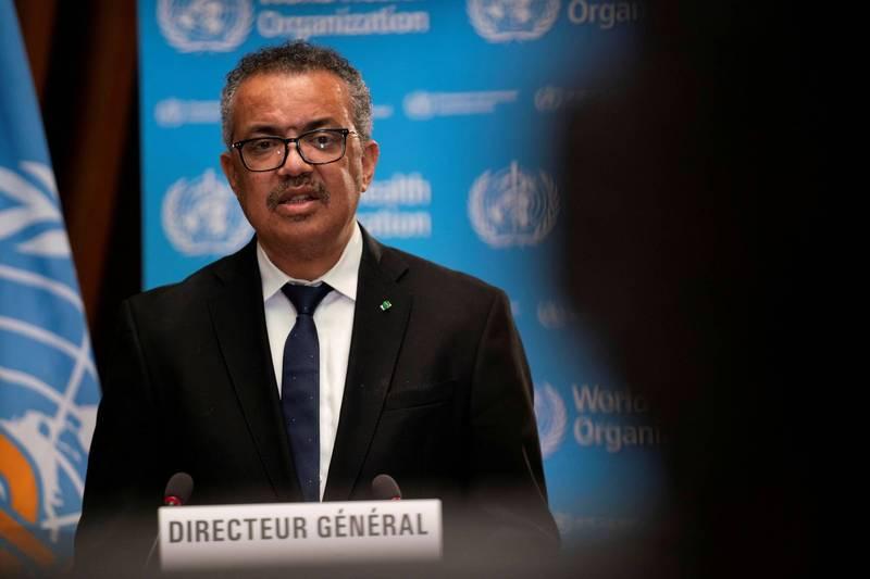世界衛生組織(WHO)秘書長譚德塞(Tedros Adhanom Ghebreyesus)表態支持取消武漢肺炎疫苗的商業專利。(路透資料照)