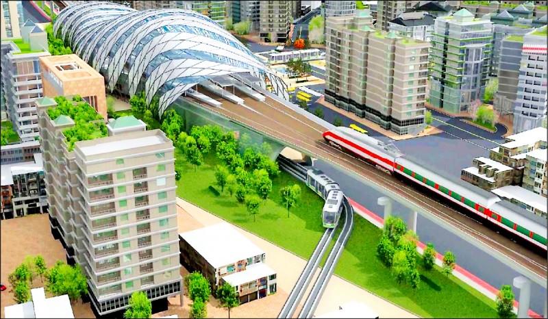 彰化市鐵路高架化的雙鐵共構示意圖。(彰化縣政府提供)