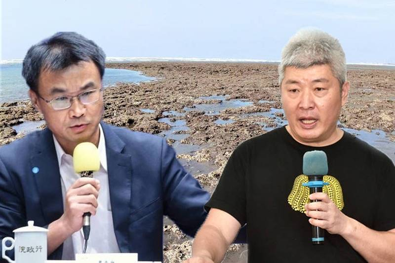 政府原先預訂週一推派農委會主委陳吉仲與環團見面,但已宣告破局,力促溝通的何宗勳也宣布退出藻礁事務。(本報合成)