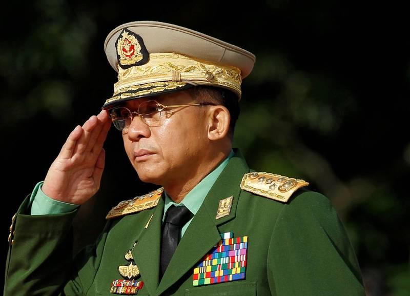 緬甸武裝部隊敏昂萊(Min Aung Hlaing)。(路透檔案照)