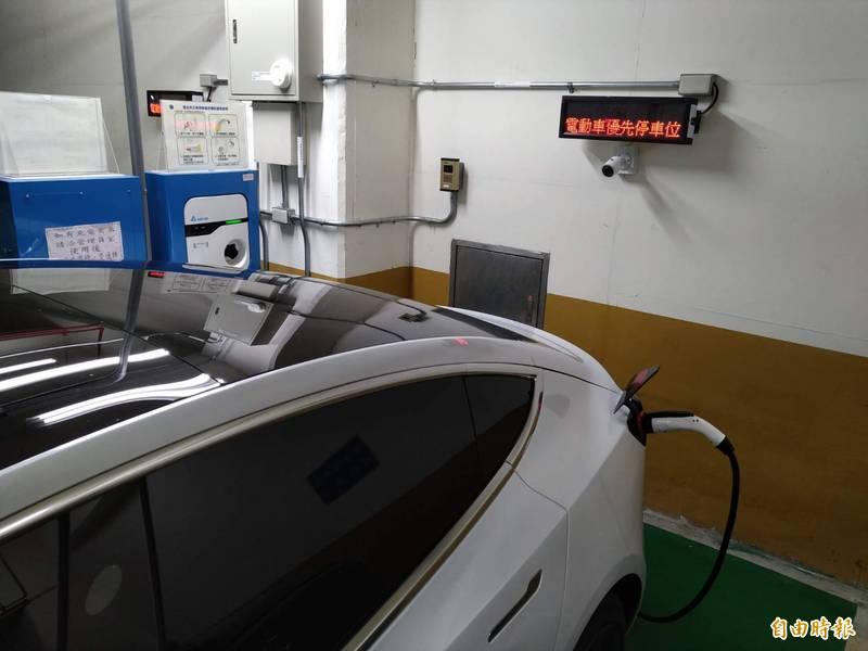 台北市公有停車場內設有電動車專用停車位,數量卻與電動車市場的成長速度不成正比。(即時新聞攝)