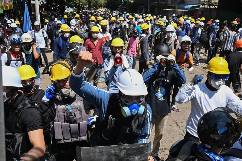 緬甸工會聯盟呼籲全面罷工。(法新社)