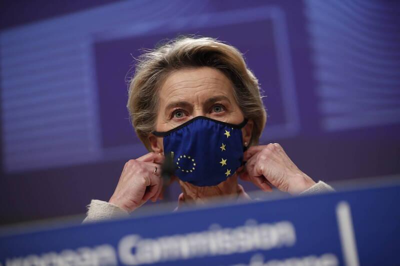 歐盟執行委員會主席馮德萊恩(見圖)8日警告,歐盟可能阻擋更多疫苗出口。(美聯社)