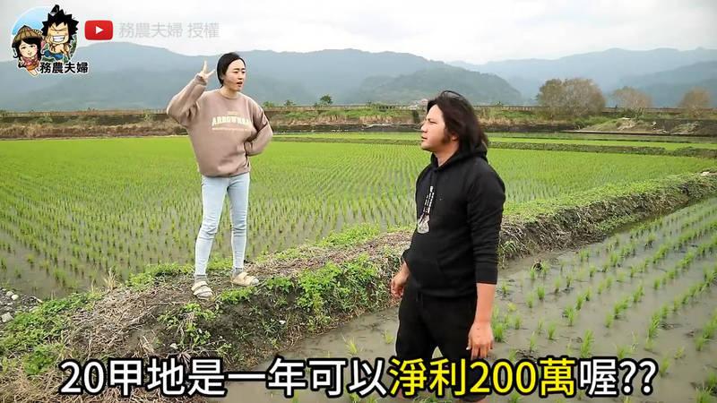 有網友好奇20甲地種稻一年能獲利200萬嗎?(YouTube 務農夫婦 授權)
