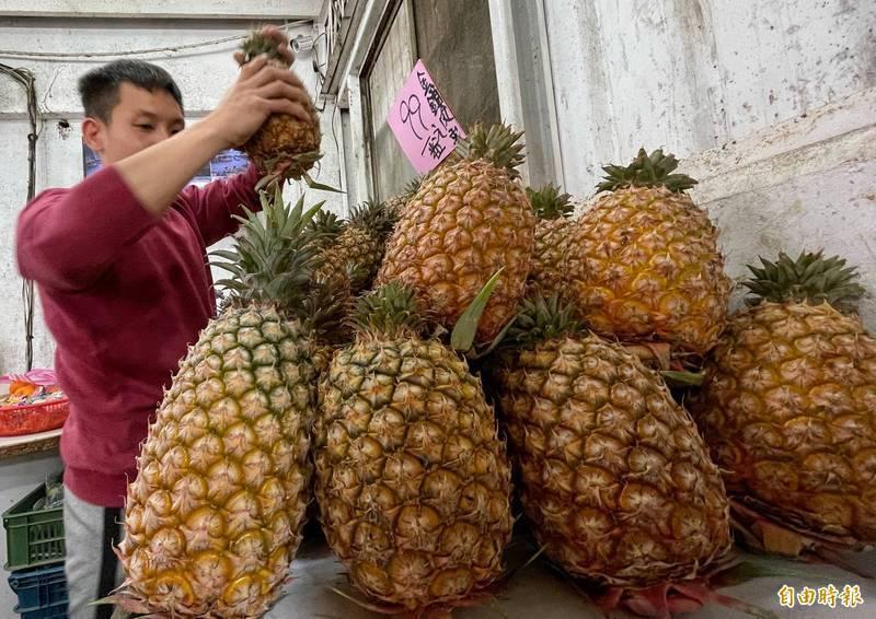 根據農委會資料,全國鳳梨批發均價從3月2日每公斤17.6元,7日提升到每公斤27.1元,6天上漲達53.98%,比去年同期每公斤21.1元,大幅成長28.2%。(資料照)