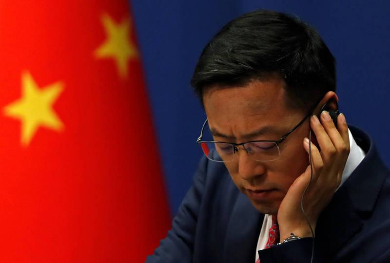 趙立堅今代表中國政府回應兩岸政治問題。(路透檔案照)
