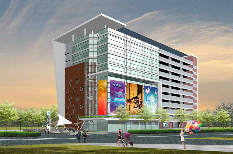 彰化市旭光西路第2停車場50年BOT投資開發案,提高容積率後可蓋10層樓以上建築,圖為綜合商場示意圖。(彰化市公所提供)