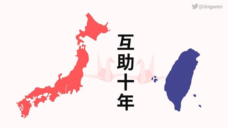 311震災已滿10週年,對此,總統蔡英文在推特上再度對日本表達關心。(翻攝蔡英文推特)