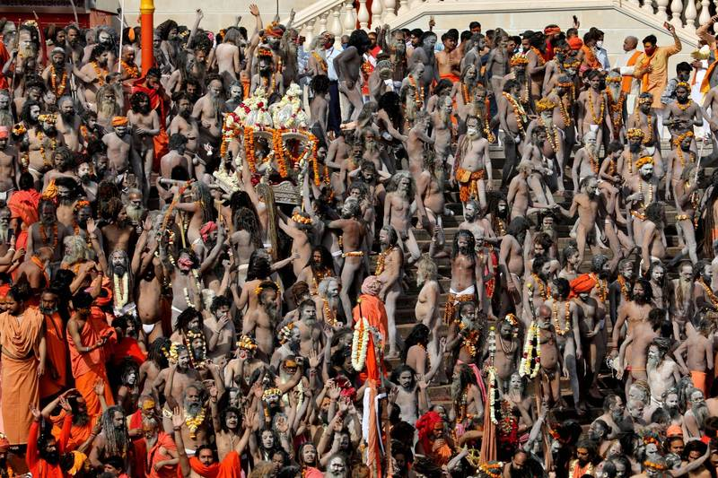 大壺節是印度教節日,被稱為「世界最大規模宗教集會」,合計超過1億人與會。圖為11日大壺節畫面。(路透)