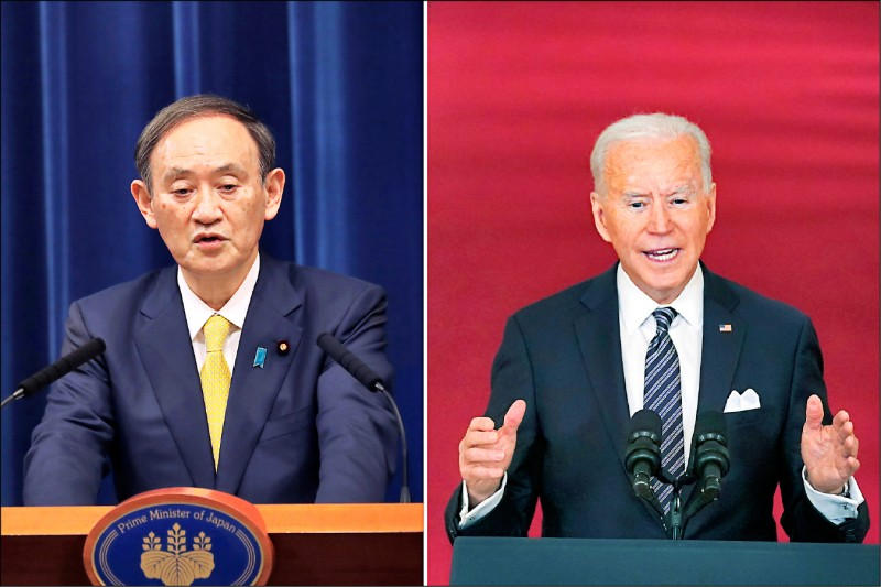 日本首相菅義偉將在四月中旬前訪問美國,成為美國總統拜登上任來首位直接會面的外國領袖。(美聯社)