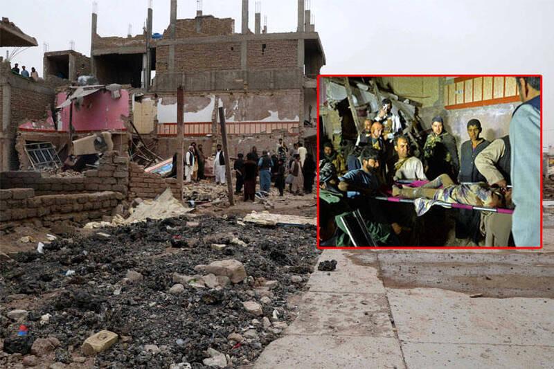 阿富汗赫拉特地區一輛裝滿炸藥的貨車在警局旁引爆,建築物、道路嚴重毀損,至少7人死亡。(本報合成)