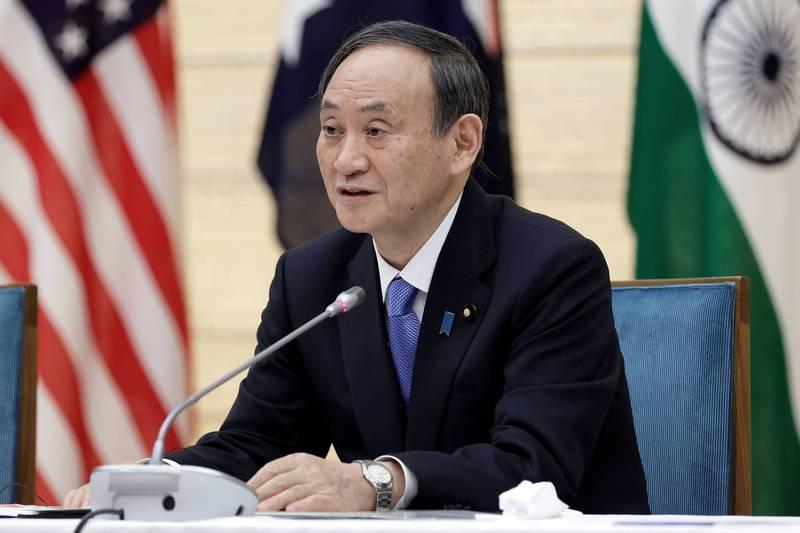 日本首相菅義偉12日與美國、印度、澳洲領袖舉行「四方安全對話」峰會,並預計在下月9日成為首位訪美的外國領袖。(路透)