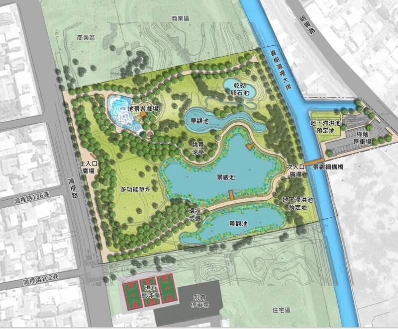 南市南區灣裡人工濕地開發案設計圖。(南市工務局提供)