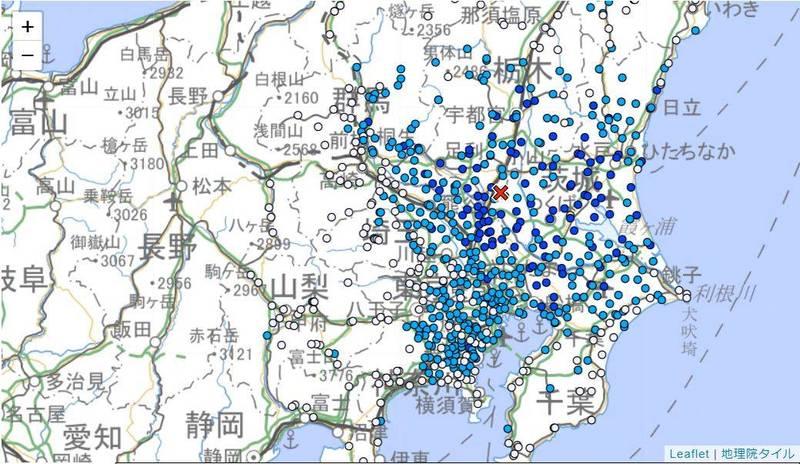 位於日本中部的茨城縣於當地時間今晨近5點發生4.8地震,位於其南邊的東京建築物一度晃動,不過目前並未發布海嘯警報。(圖擷自日本氣象廳)