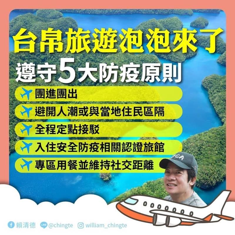台灣開放帛琉「旅遊泡泡」,副總統賴清德在臉書貼文宣導。(擷自賴清德臉書)