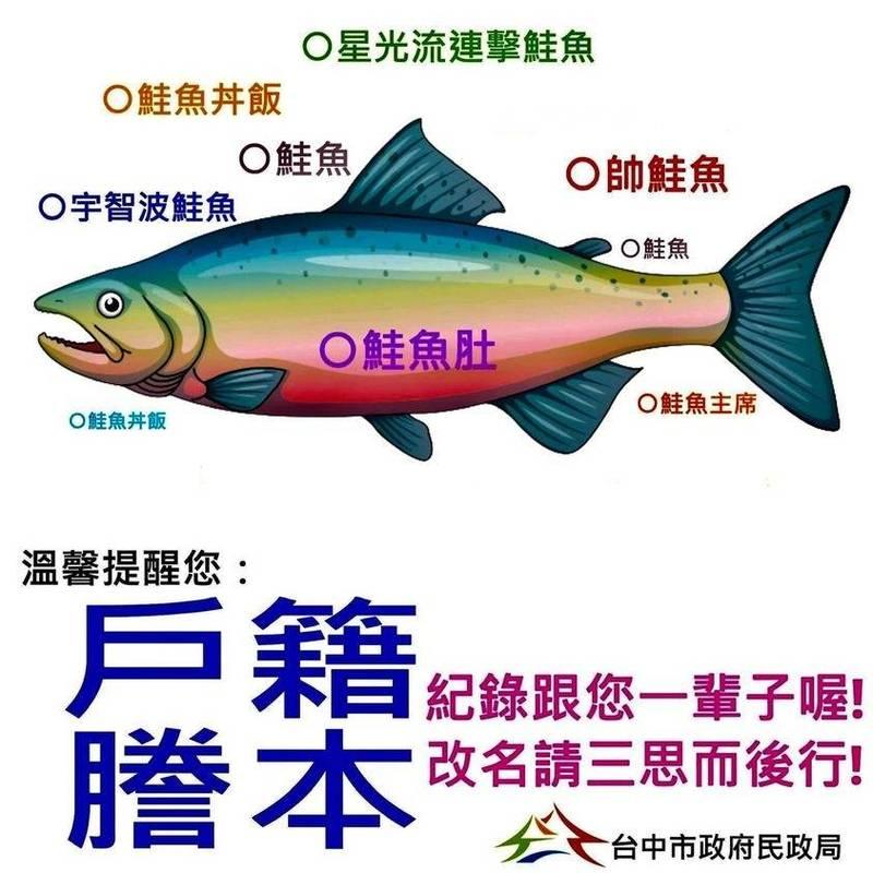 民政局另類製作「鮭魚姓名梗圖」,提醒民眾「凡改過必留下痕跡」。(圖:擷自台中市民政局臉書)