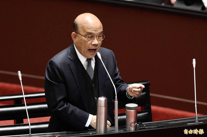 行政院長蘇貞昌說,過去執政者在核四浪費幾千億元,還是前總統馬英九封存,現在還說要重啟核四,他認為不是選項、不宜。(記者叢昌瑾攝)