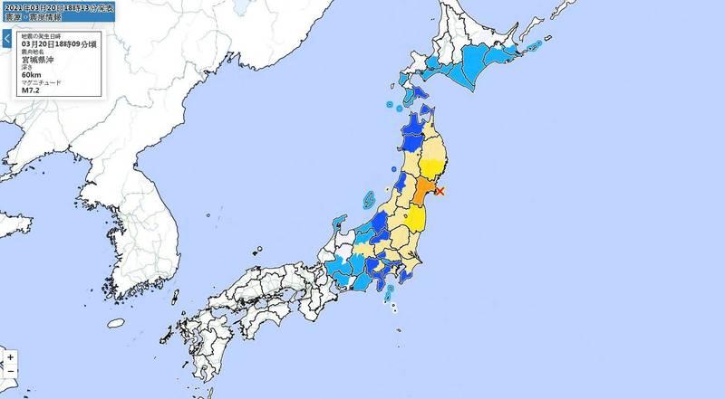 日本東北外海當地時間今(20)日晚間6點09分,發生規模7.2的強震,震源深度約60公里、最大震度5強。(圖擷取自日本氣象廳)