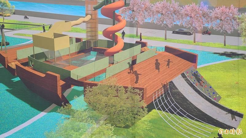 台南市南區「大船來了」主題遊戲場公園,以台灣船為發想,打造特色遊戲場域,預計1年後完工。(記者劉婉君攝)
