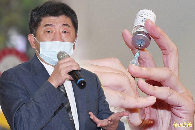 衛福部長陳時中帶頭接種AZ疫苗。他今透露,昨天(22日)有一點小發燒,但今天已經恢復正常了。(本報資料照;本報合成)