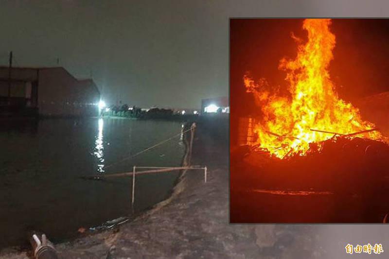 萬丹鄉豆皮工廠今晚失火,火勢猛烈。現場缺水,取用鄰居的蝦池水應急。(記者葉永騫攝;本報合成)